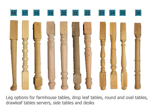 Touchwood UK leg styles for dining tables