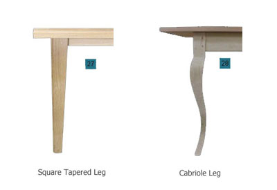 Touchwood UK square tapered leg and cabriole leg